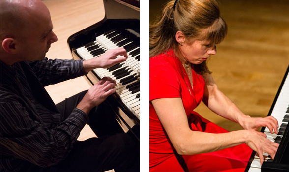 portraits of Lori Sims and Christopher Taylor playing piano