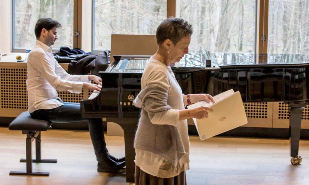 Partitura Project creator Maria João Pires with project collaborator Julien Brocal