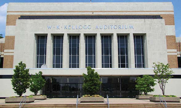 front entrance to the W. K. Kellogg Auditorium