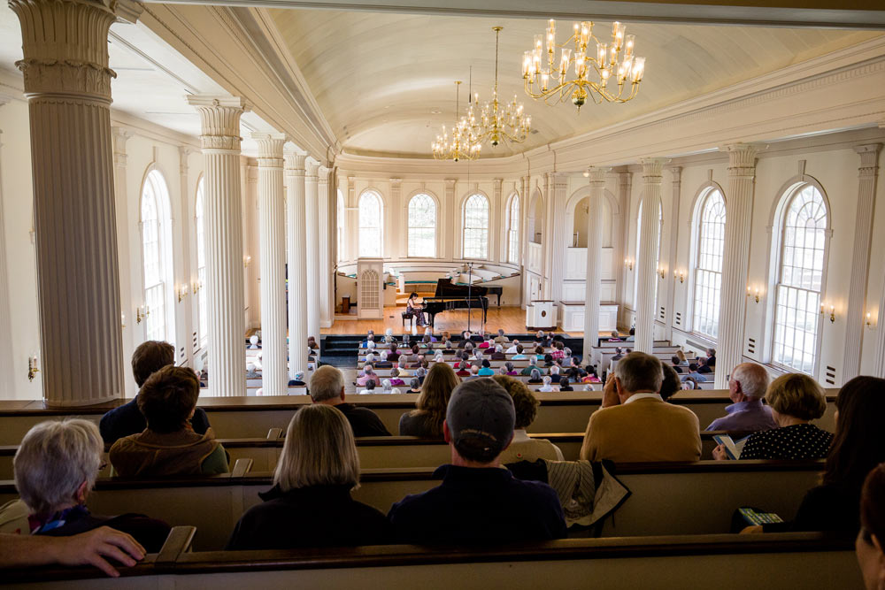 Wei Luo performing at Stetson Chapel at Kalamazoo College