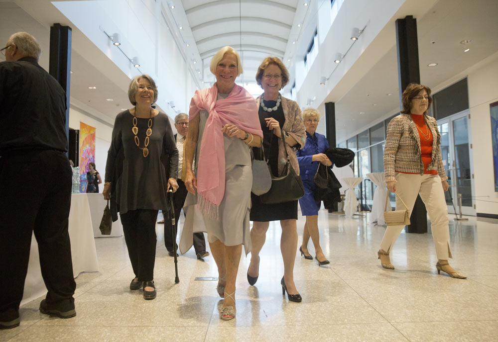 group of ladies walking into the Gilmore Keyboard Festival