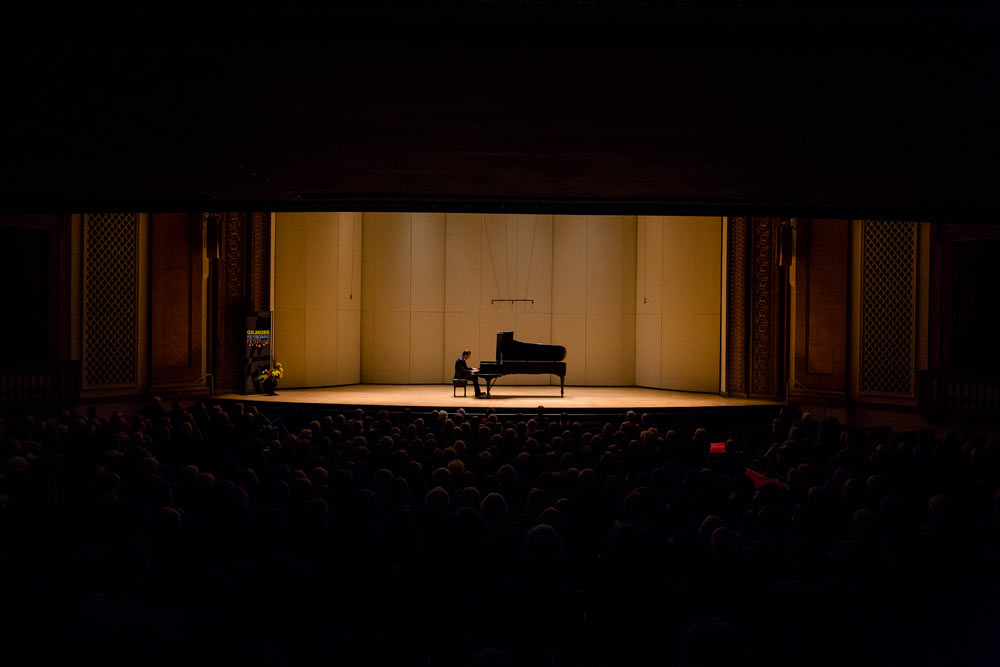 Leif Ove Andsnes on stage performing at Chenery Auditorium