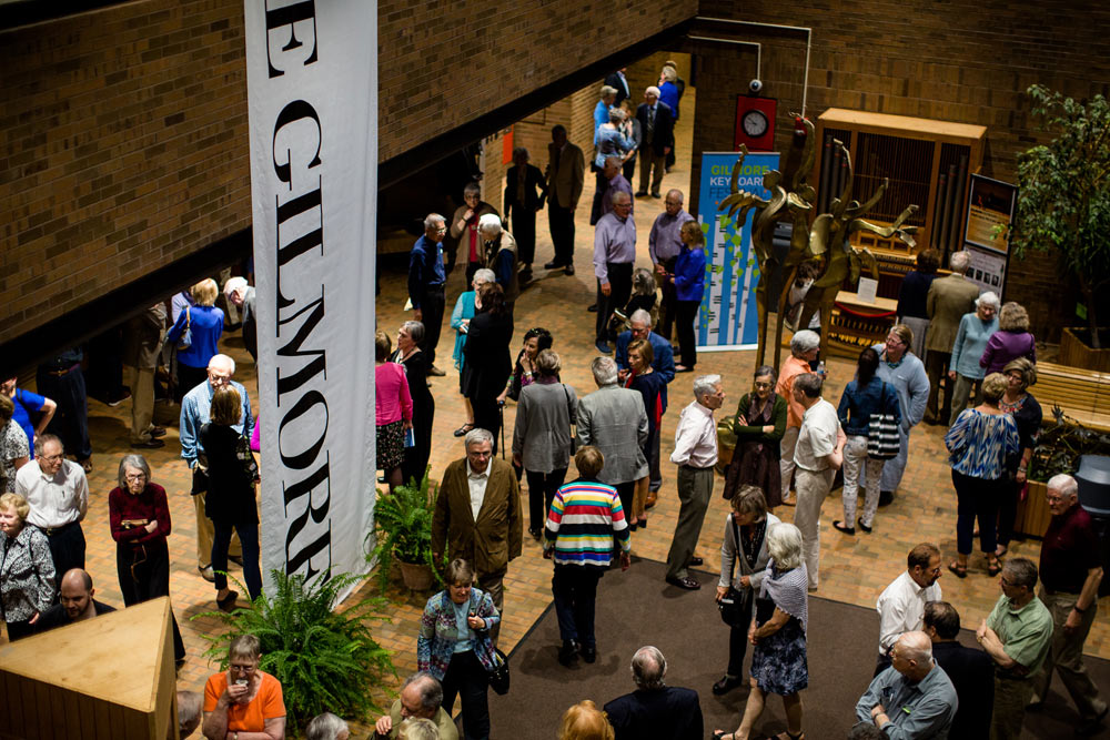 group of people waiting inside the gilmore keyboard festival