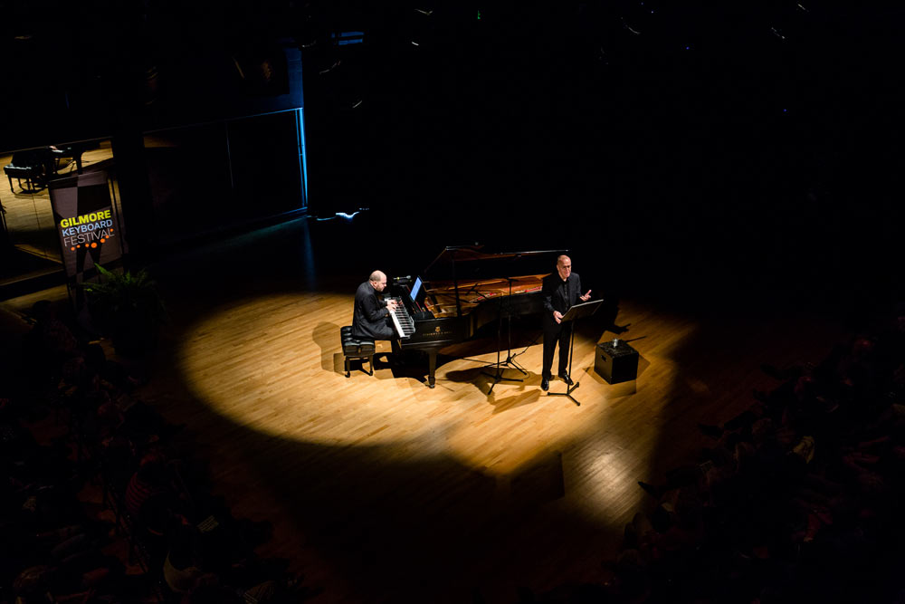 Kirill Gerstein and D. Terry Williams performing on stage at the Wellspring Theater