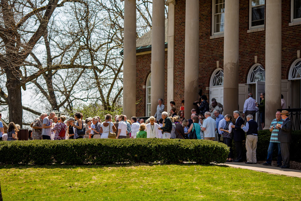 group of people gathering at Stetson Chapel