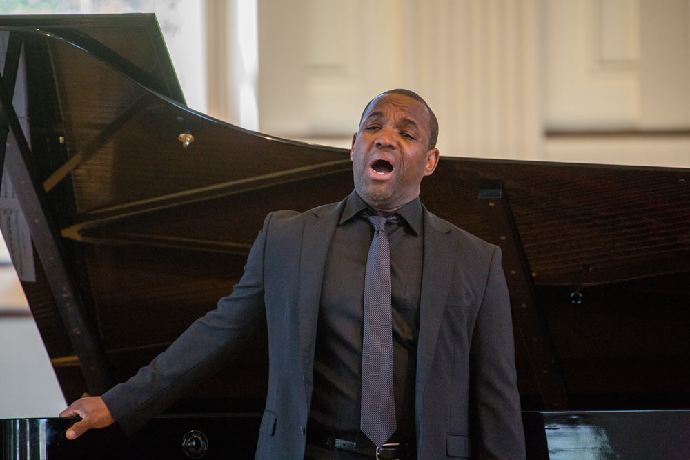 close up of Lawrence Brownlee singing on stage