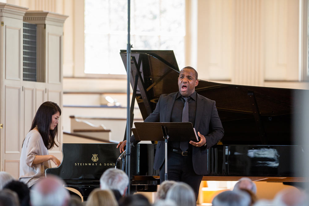 Lawrence Brownlee singing on stage at Stetson Chapel