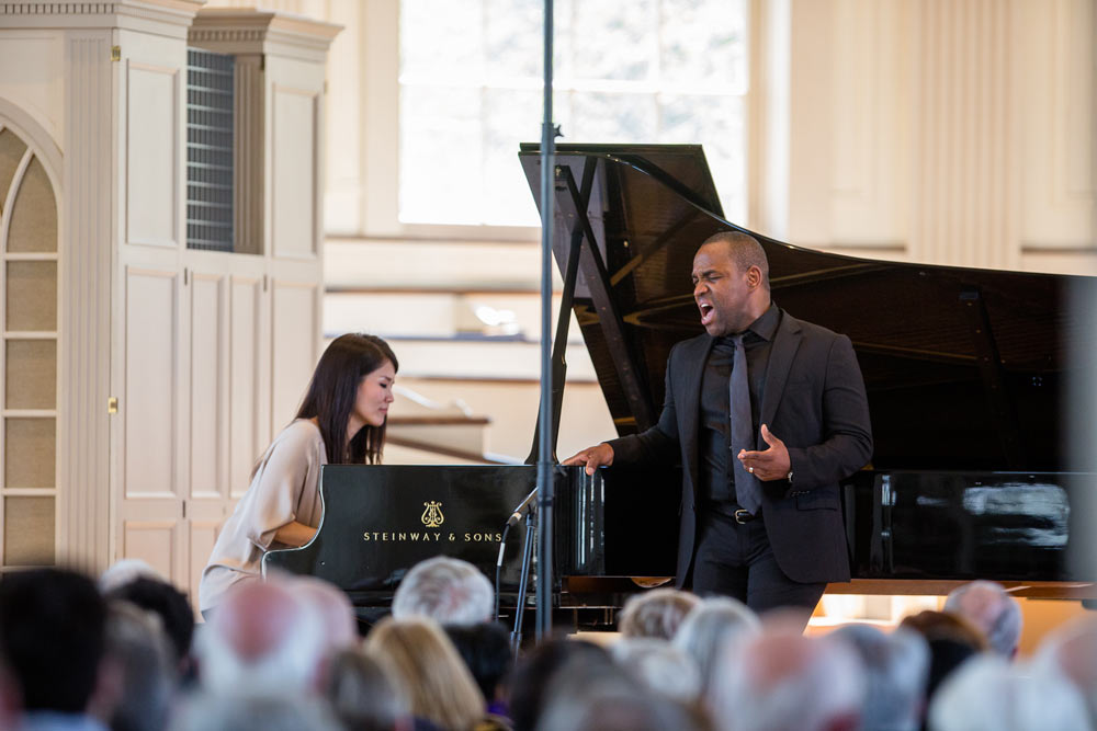 Lawrence Brownlee and his friend on stage performing at Stetson Chapel