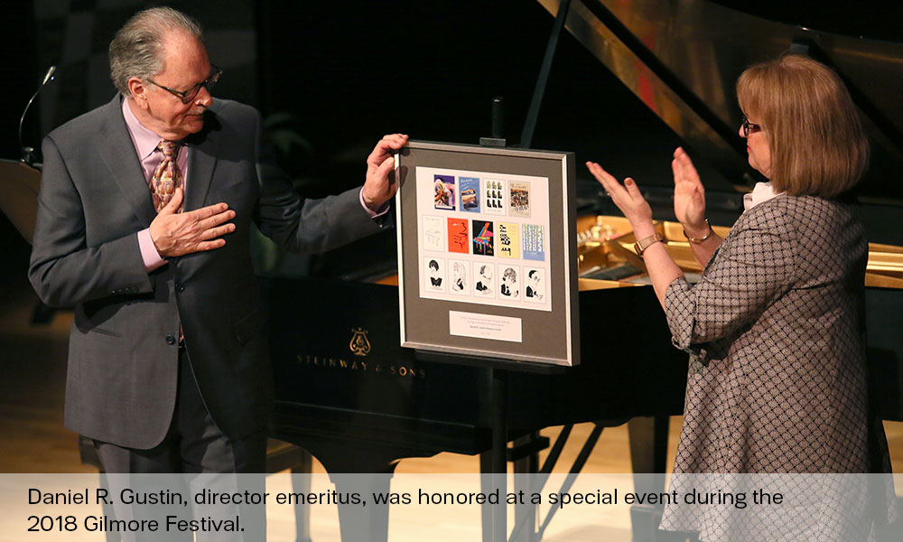Daniel R Gustin was honored at special event during the Gilmore Festival in 2018