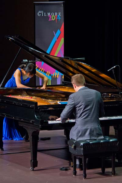Greg Anderson and Elizabeth Roe dueling pianos