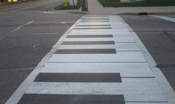 crosswalk painted to look like keyboard