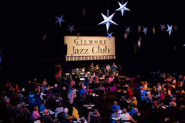 band on stage at the gilmore jazz club