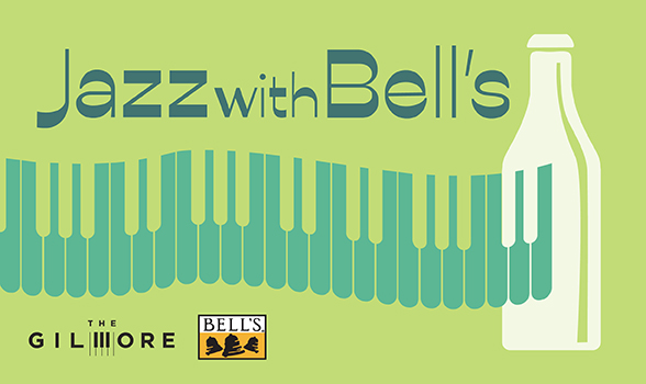 Jazz with Bell's promotional image: piano keys, a beer bottle, and the logos for Bell's brewery and The Gilmore
