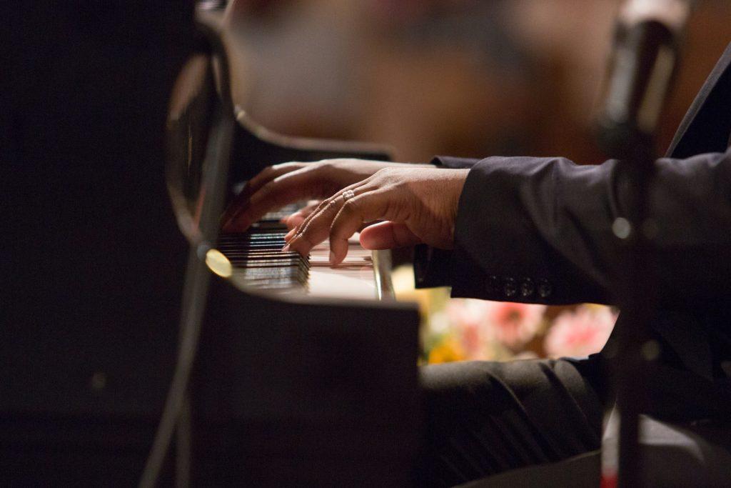 close up of Rufus Ferguson Ensemble pianists hands